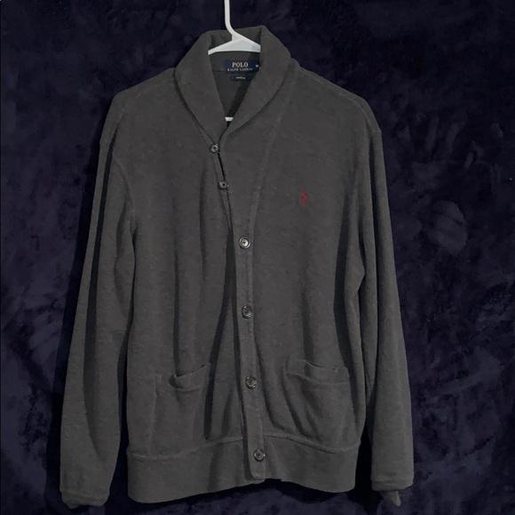 9f3b46e0983 Grey Ralph Lauren Estate Rib Button Up Sweater